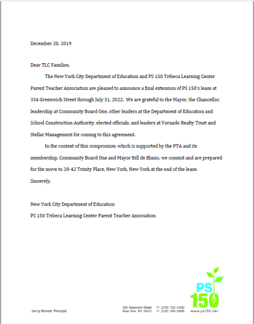 Letter from Department of Education announcing final lease extension through July 22, 2022